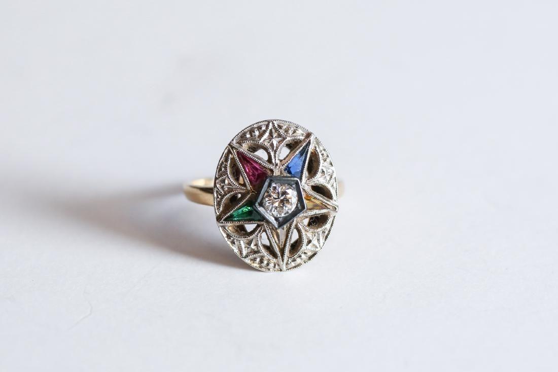 c1950 Gran & Co Inc 14K Eastern Star Ring