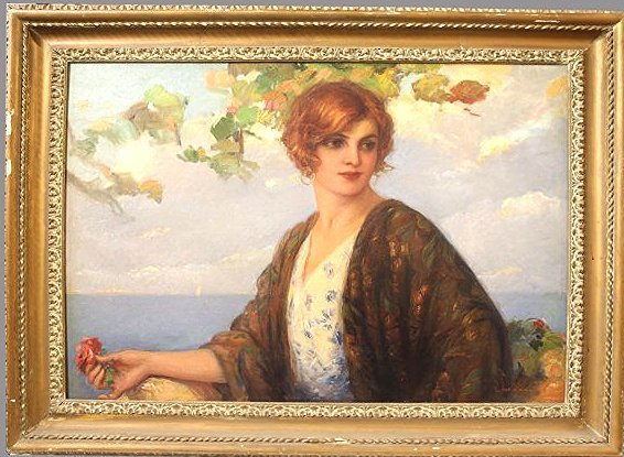 Antique Painting of A Lady, Tito Corbella Art Deco Lady