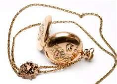 1894 Elgin 14k Gold Antique Pocket Watch 118 6s  Chain
