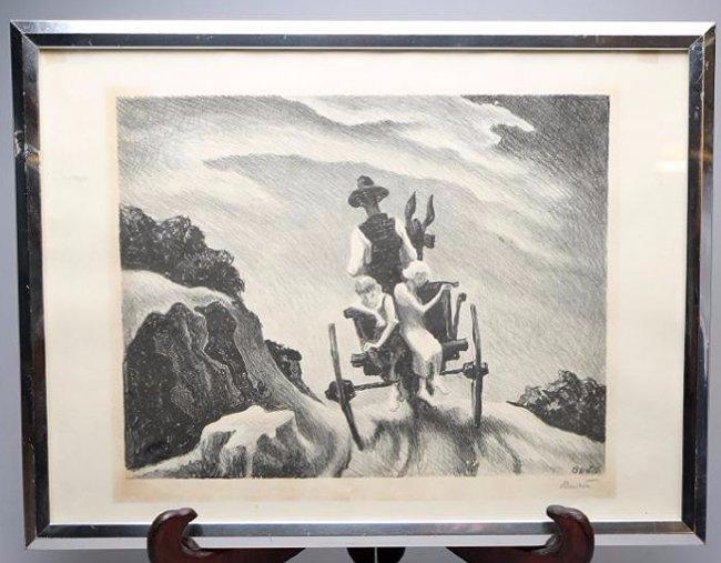 Thomas Hart Benton Lithograph Goin' Home Pencil  Signed
