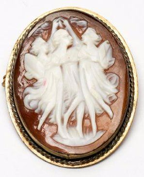 Antique Carved Cameo Brooch/Pendant of the Three Graces