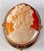 Vintage 14K Carved Cameo Brooch/Pendant