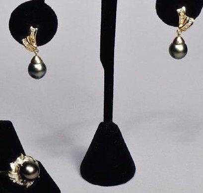 Beautiful 14k Gold South Seas Black Pearl/Diamonds Set