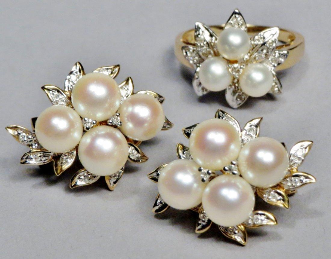 Stunning! 14K Pearl Earrings, Matching Ring