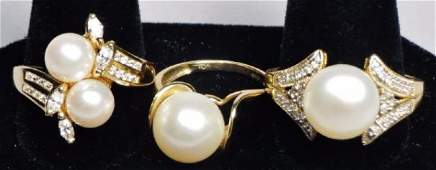 Gorgeous Lot  10K and 14K Gold Pearl  Diamond Rings