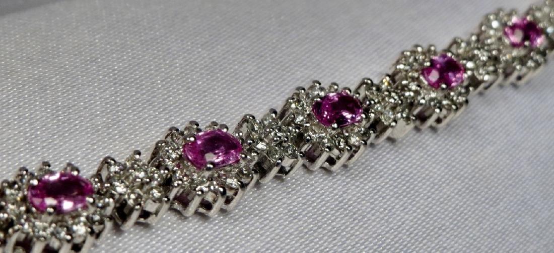 18K White Gold, Diamond & Pink Sapphire Tennis Bracelet - 2