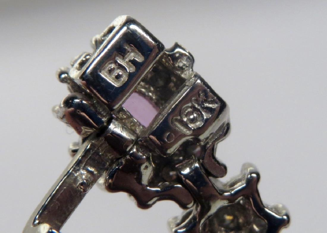 18K White Gold, Diamond & Pink Sapphire Tennis Bracelet - 3