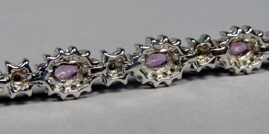 18K White Gold, Diamond & Pink Sapphire Tennis Bracelet - 4