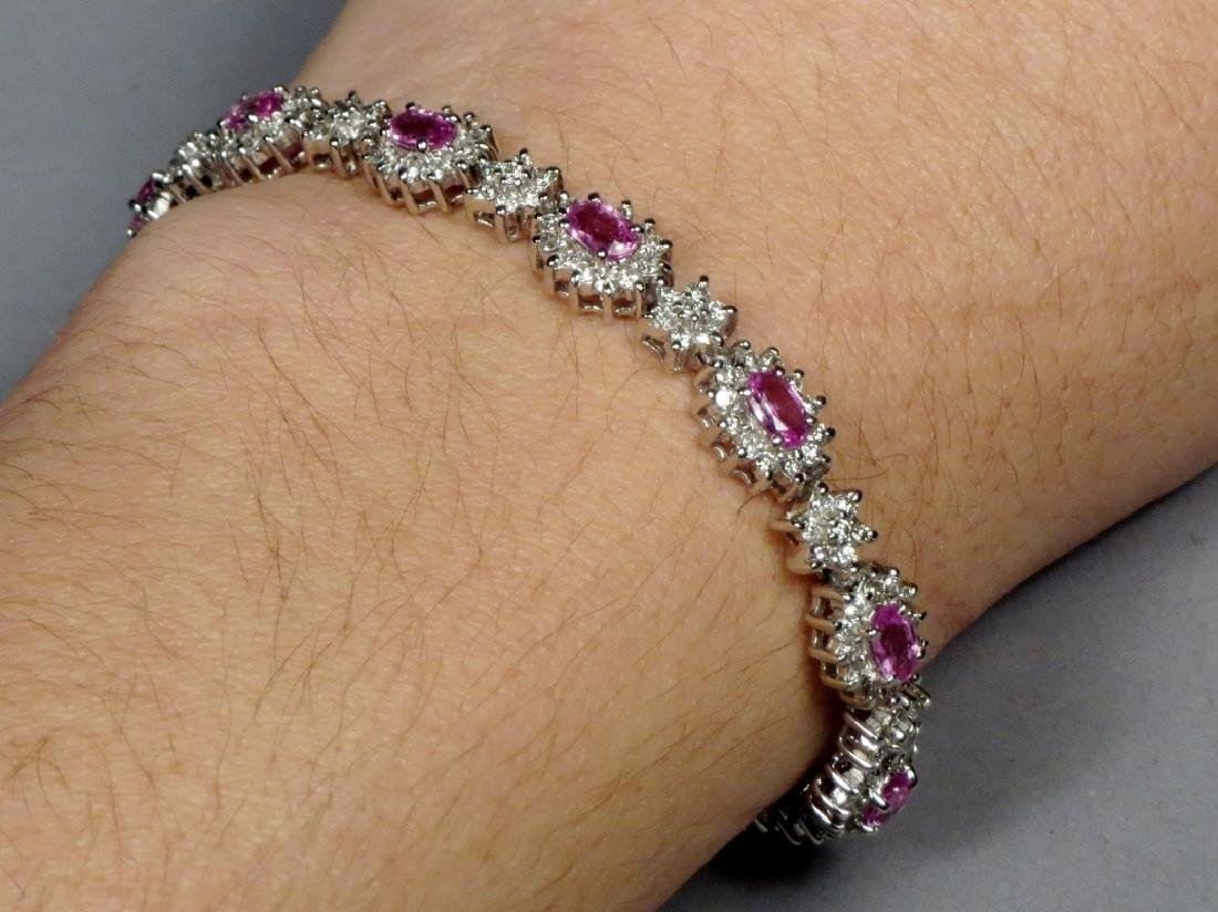 18K White Gold, Diamond & Pink Sapphire Tennis Bracelet - 5
