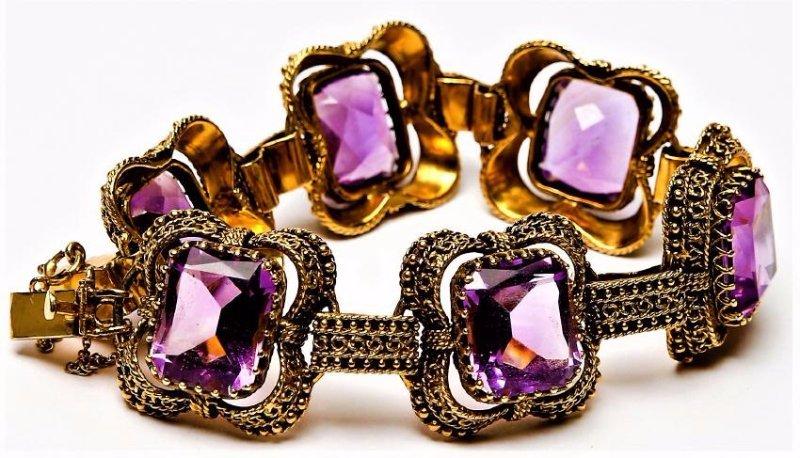 Vintage 14k Gold & 6 stone Amethyst Bracelet