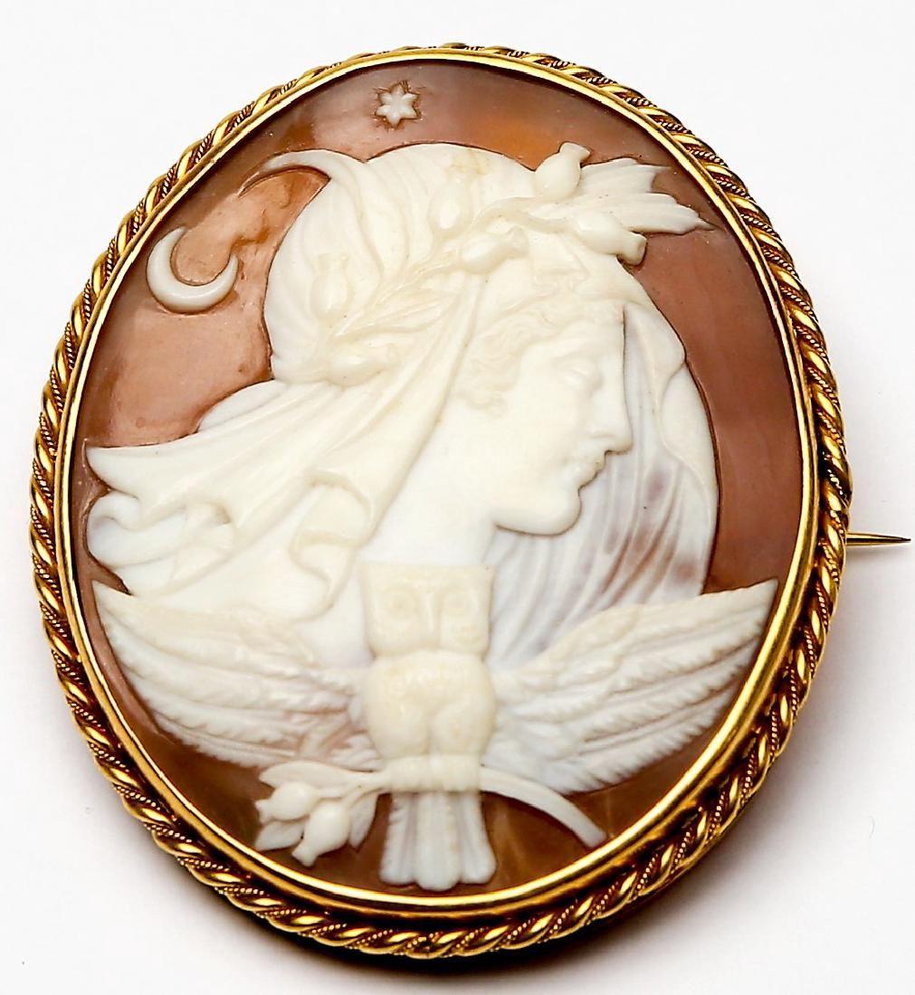 Antique Athena 14K Gold Carved Cameo Brooch Pendant