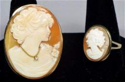Cameo brooch and ring lot