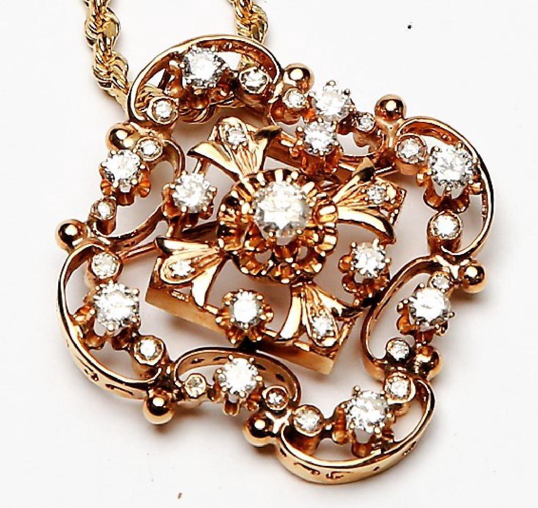 STUNNING 2.50+ct Diamonds & 14k Gold Necklace