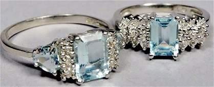 Lot of 2 10K White Gold Aquamarine  Diamond Rings
