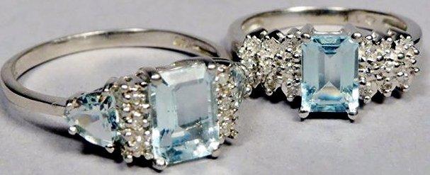 Lot of 2 10K White Gold, Aquamarine & Diamond Rings