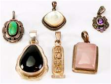 Vintage Sterling Turquoise Onyx Rose Quartz  More