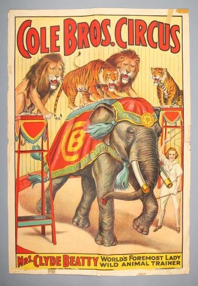 Vintage Cole Brothers Circus Poster