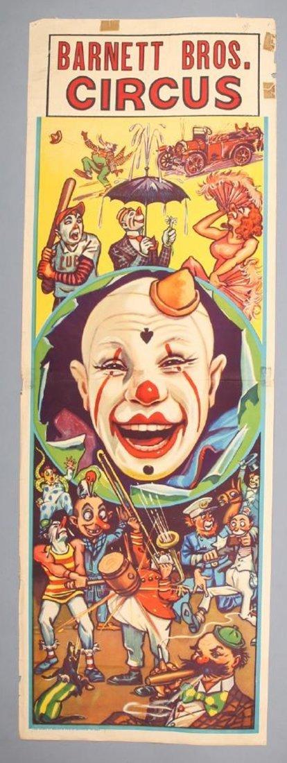 Vintage 1938 Barnett Bros Circus Clown Poster