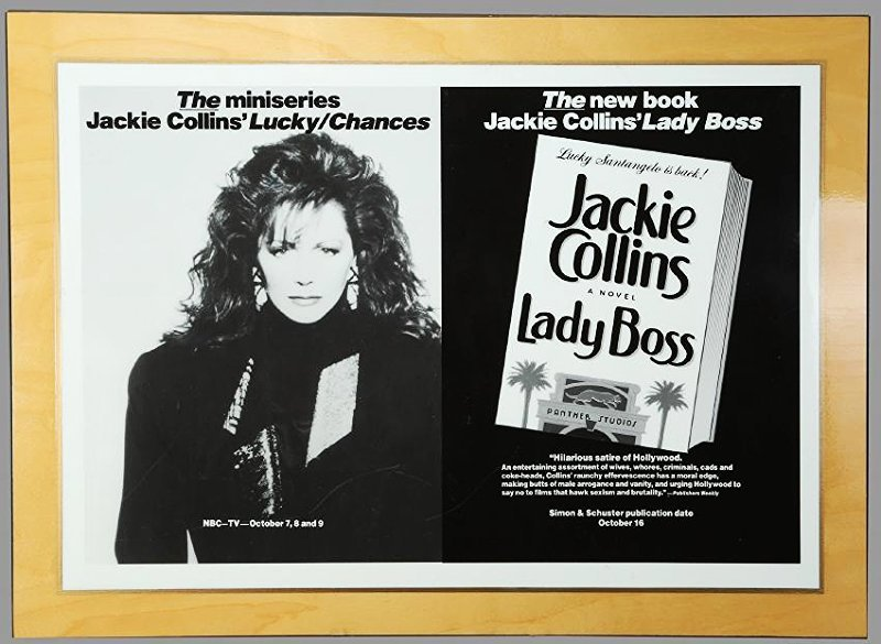 Jackie Collins Mounted Bookstore Promo, Lady Boss