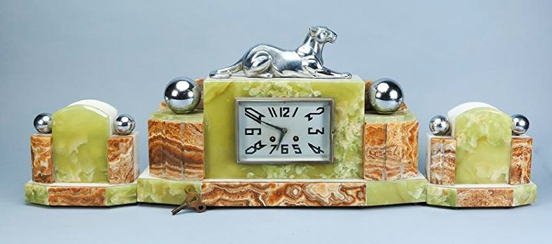 3 Pc. French Art Deco  Panther Marble Clock F. Marti