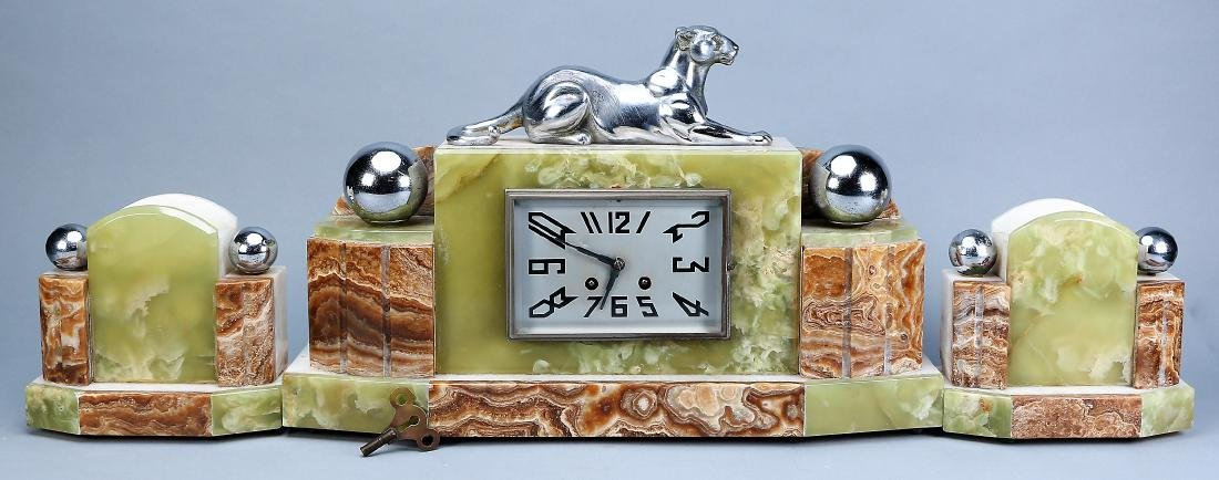 3 Pc. French Art Deco  Panther Marble Clock F. Marti - 2