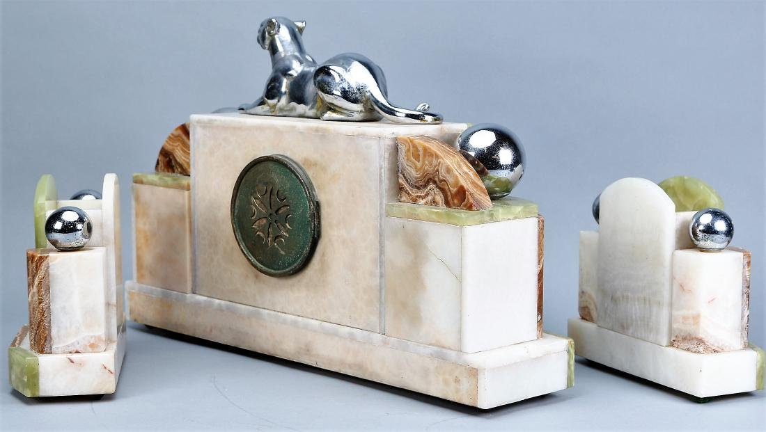 3 Pc. French Art Deco  Panther Marble Clock F. Marti - 3