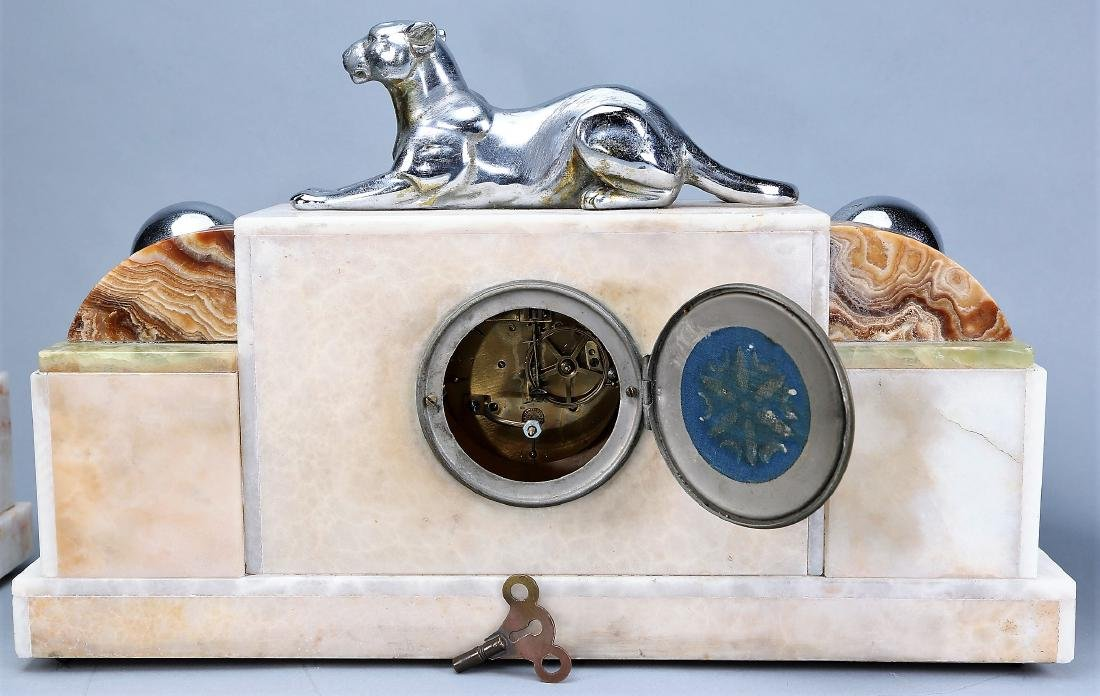 3 Pc. French Art Deco  Panther Marble Clock F. Marti - 4