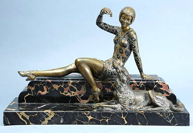 Art Deco Bronze Lady , H,  Molins