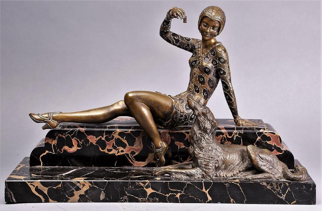 Art Deco Bronze Lady , H,  Molins - 2