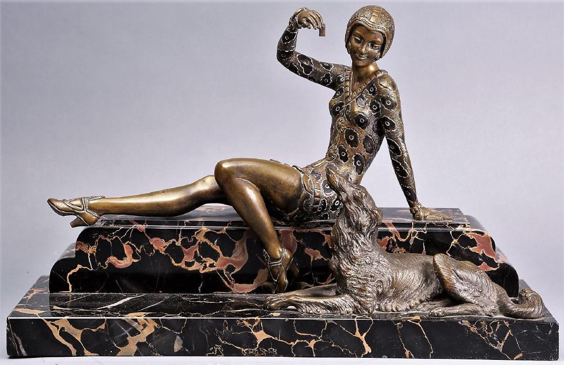 Art Deco Bronze Lady , H,  Molins - 3