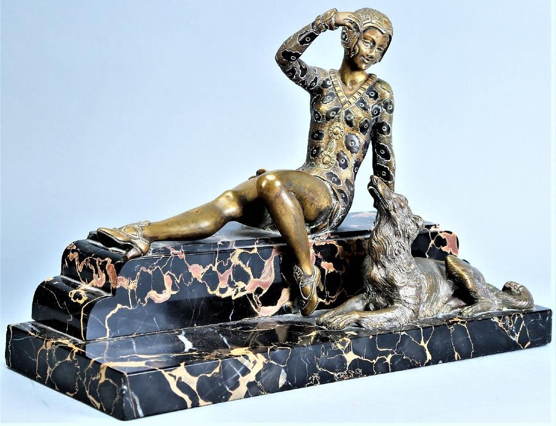 Art Deco Bronze Lady , H,  Molins - 5