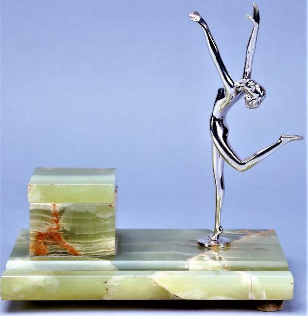 Art Deco  Nude Marble Chrome Inkwell, Sat on Jackie's