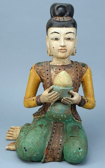 Asian Carved Wood Statue Jeweled Polychrome