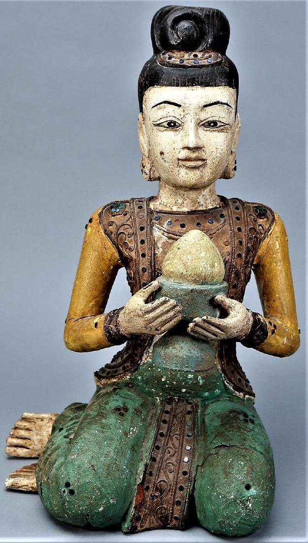 Asian Carved Wood Statue Jeweled Polychrome - 2