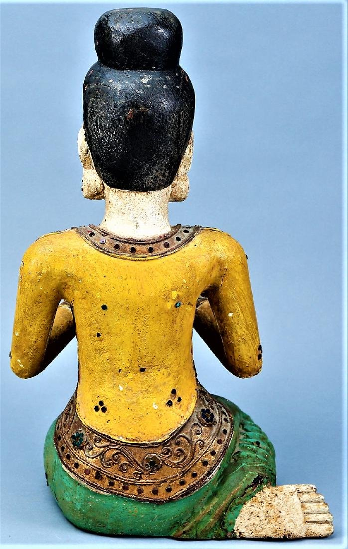 Asian Carved Wood Statue Jeweled Polychrome - 3