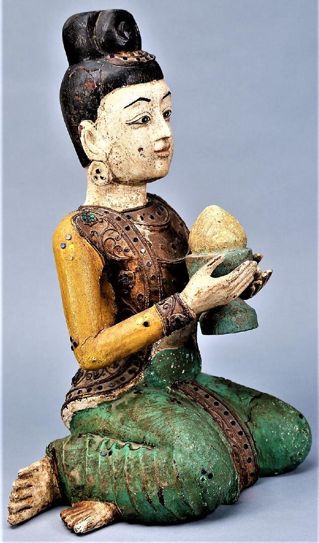 Asian Carved Wood Statue Jeweled Polychrome - 5