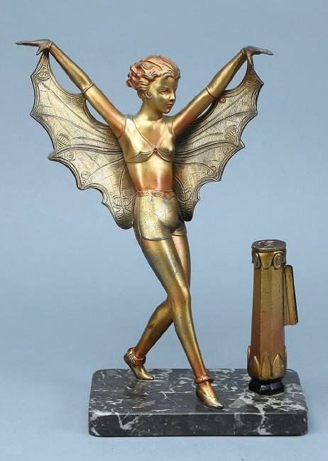 Art Deco Butterfly Lady on Mounted on Marble