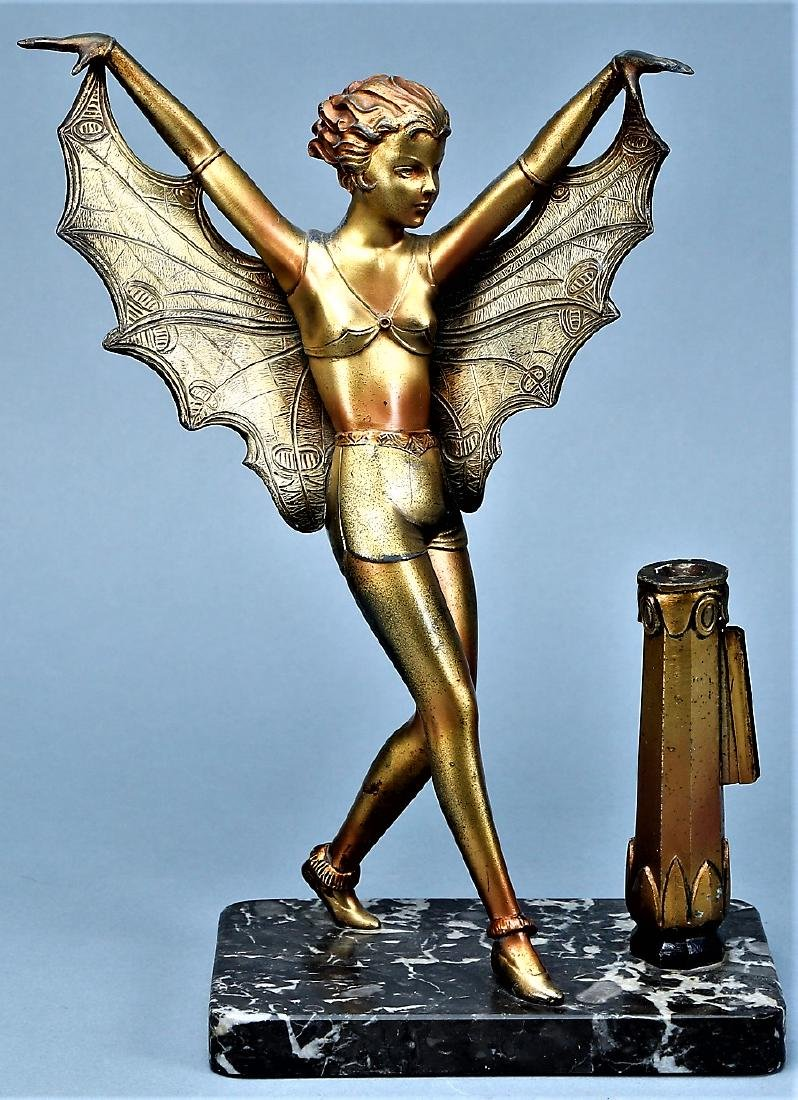 Art Deco Butterfly Lady on Mounted on Marble - 2