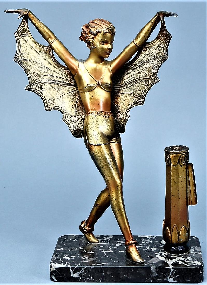 Art Deco Butterfly Lady on Mounted on Marble - 3