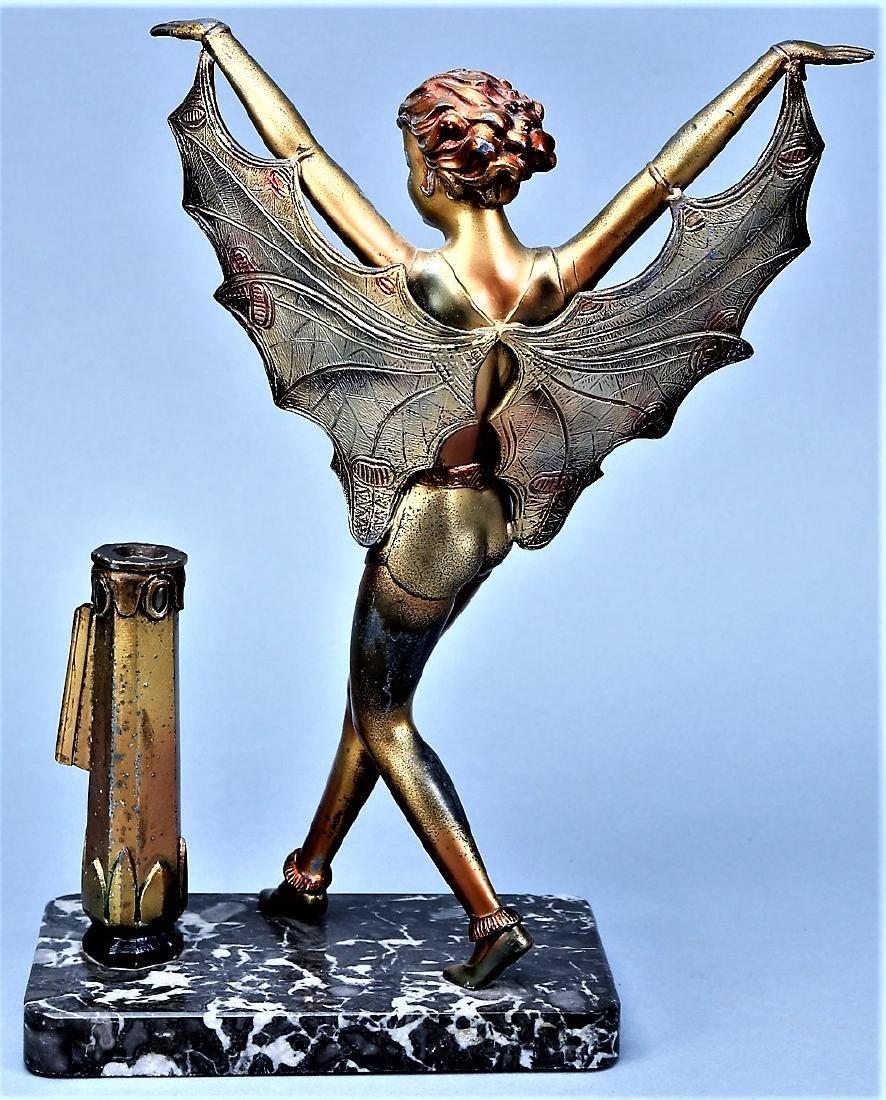 Art Deco Butterfly Lady on Mounted on Marble - 4