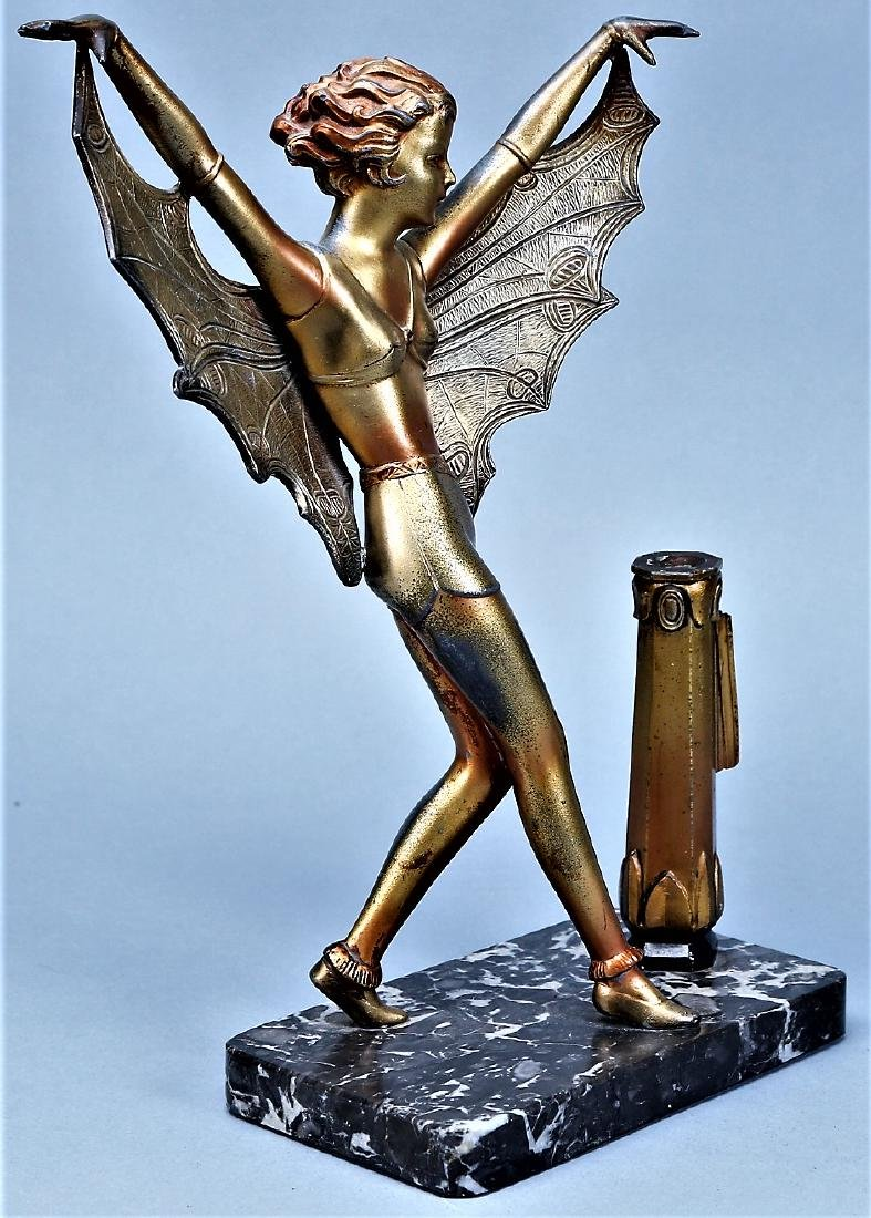 Art Deco Butterfly Lady on Mounted on Marble - 5