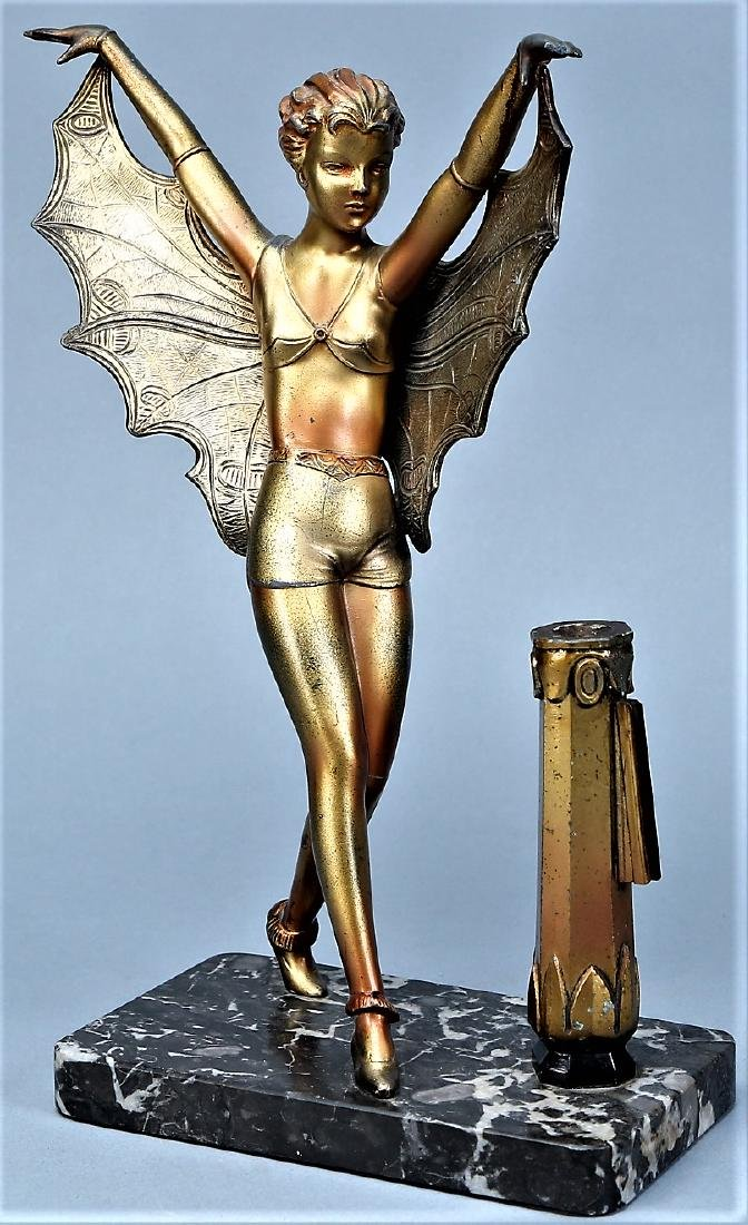 Art Deco Butterfly Lady on Mounted on Marble - 6