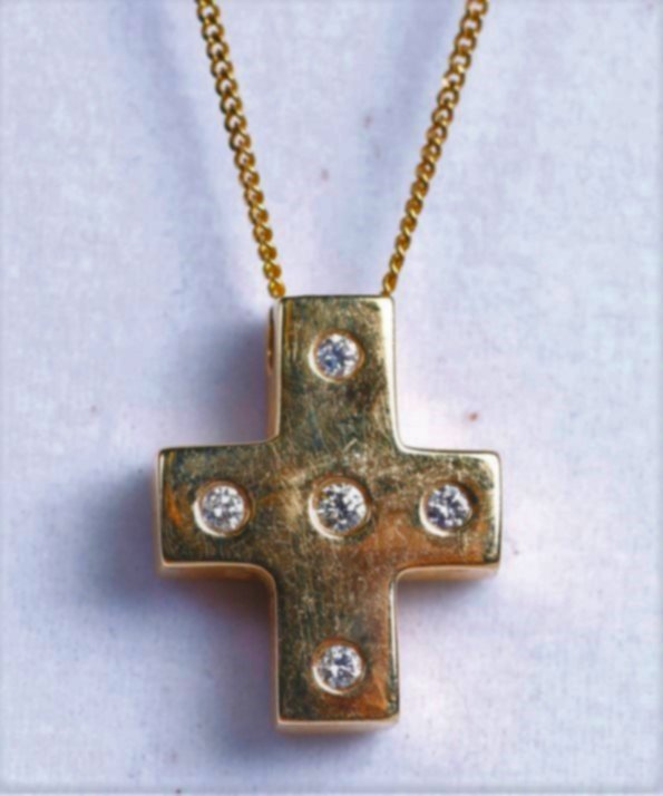 14K Yellow Gold and Diamond Cross Necklace, Worn By