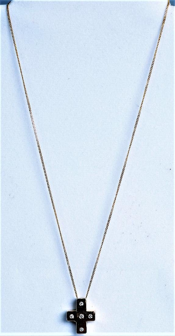14K Yellow Gold and Diamond Cross Necklace, Worn By - 2