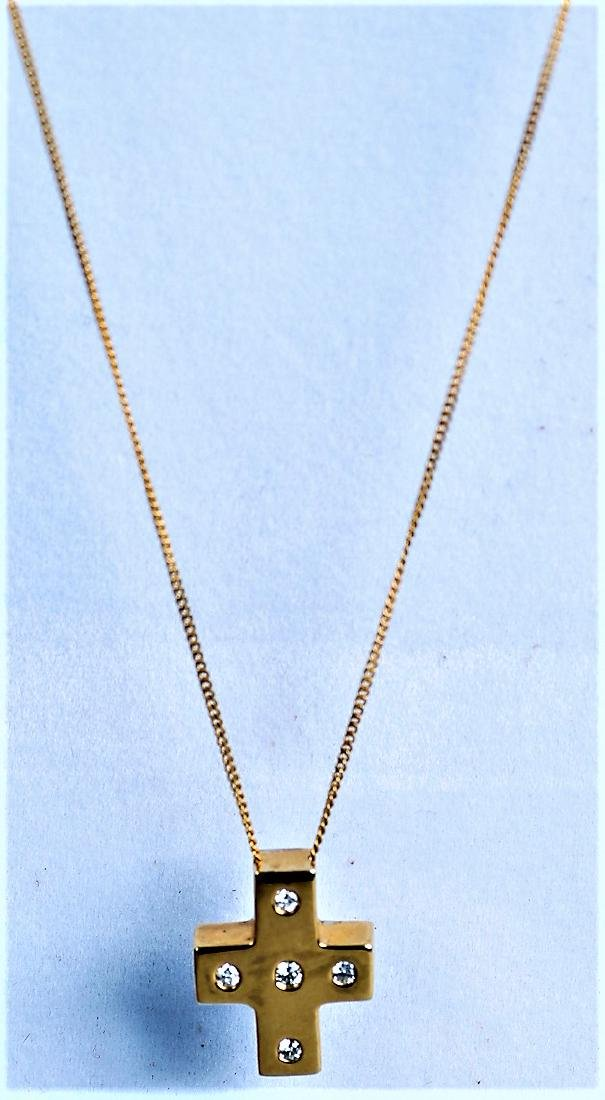 14K Yellow Gold and Diamond Cross Necklace, Worn By - 3