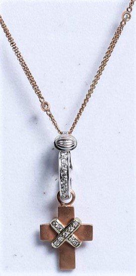 14K/18K Rose Gold Cross Pendant Necklace, Worn by Ms.