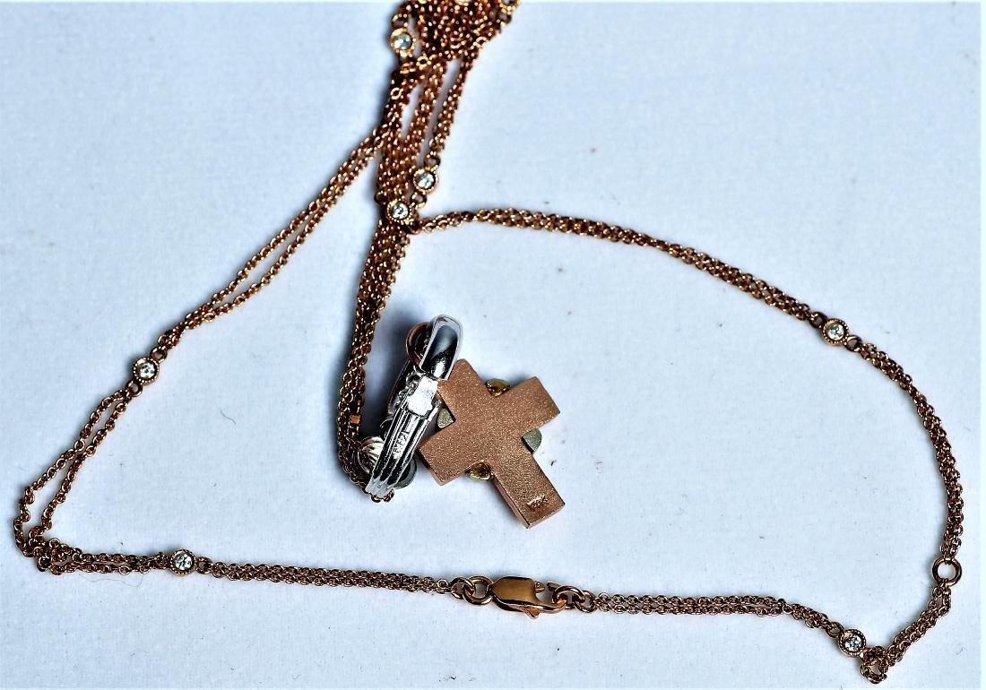 14K/18K Rose Gold Cross Pendant Necklace, Worn by Ms. - 3