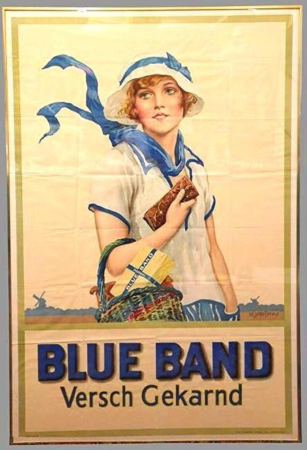 Art Deco Blue Band Margarine Poster