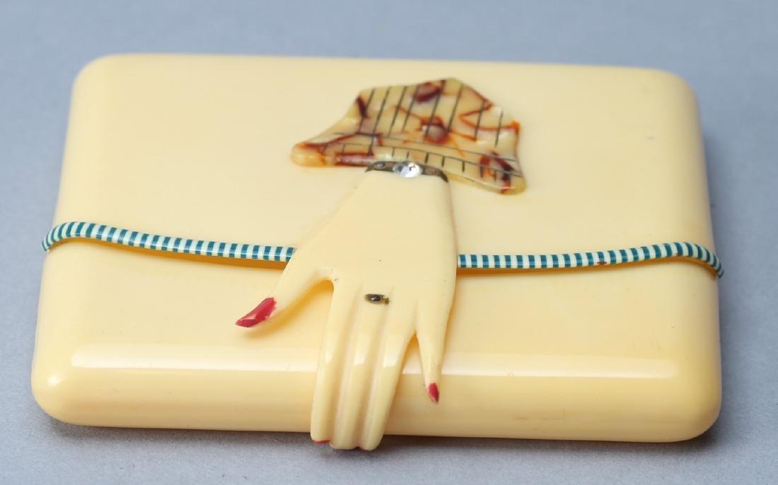Vintage Art Deco Celluloid Hand Compact