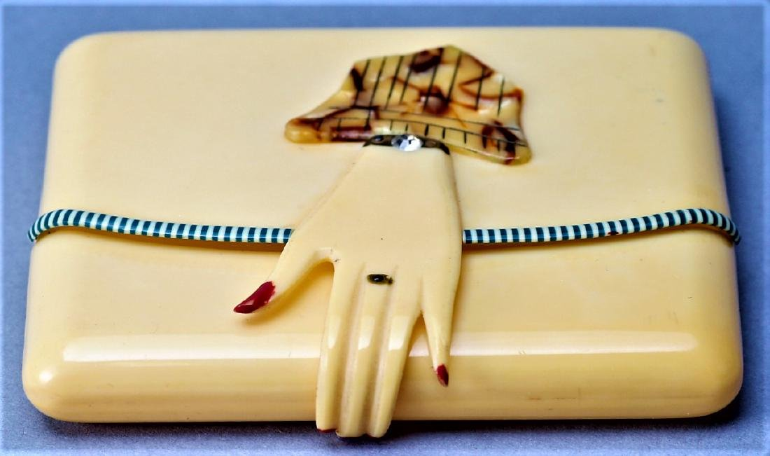 Vintage Art Deco Celluloid Hand Compact - 2